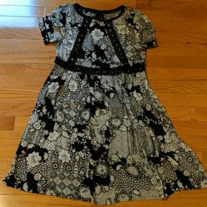 Black, cream and lace dress